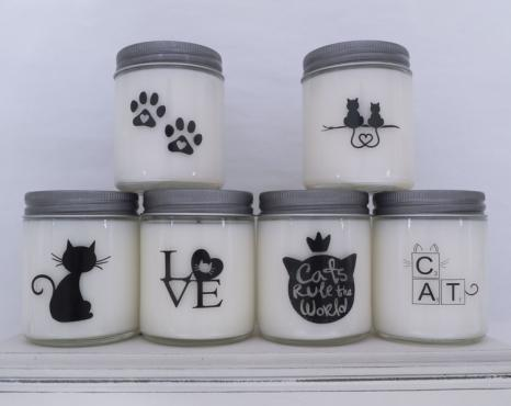 Jar candles with cat lover designs